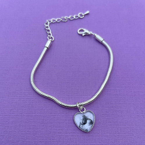 Personalised Memory Charm: Silver Plated Single Heart Charm Bracelet