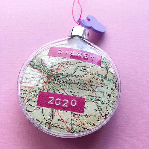 Personalised Travel Map: Double Sided Christmas Tree Bauble