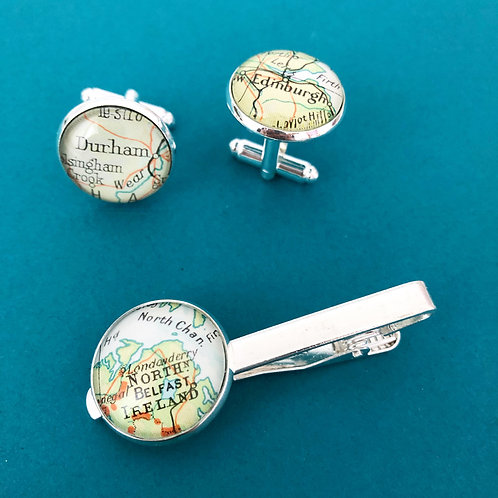 Personalised Travel Map: Cuff Link and Tie Clip Duo