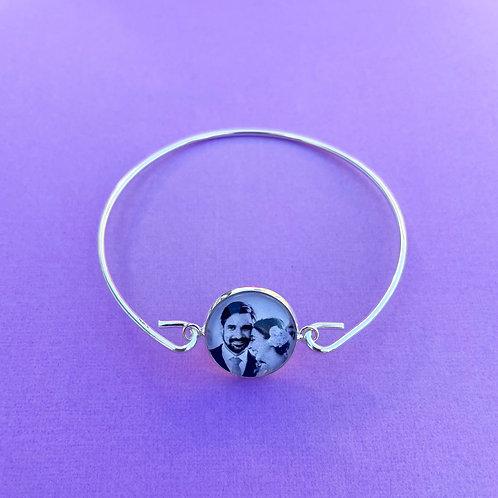 Personalised Memory Charm: Silver Charm Bangle