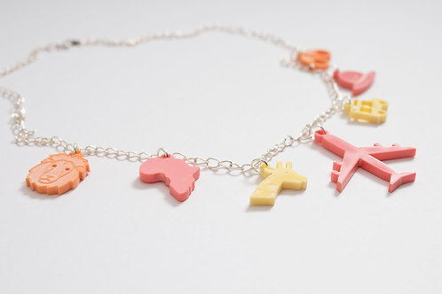 Africa: Laser Cut Perspex Travel Charm Necklace
