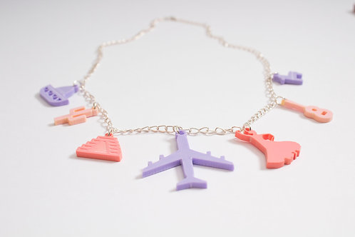 Mexico: Laser Cut Perspex Travel Charm Necklace