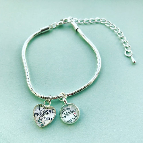 Personalised Travel Map: Silver Plated Double Destination Charm Bracelet