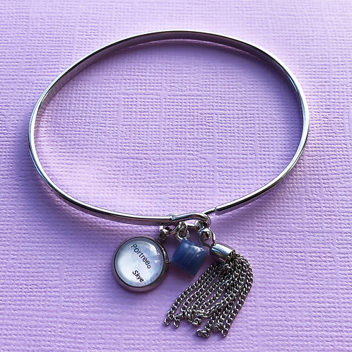 Personalised Travel Map: Limited Edition Platinum Charm Bangle
