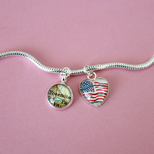 Personalised Travel Map & Flag: Silver Plated Double Charm Bracelet