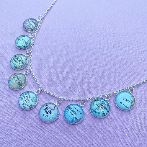 Personalised Travel Map: Nine Destination Charm Necklace
