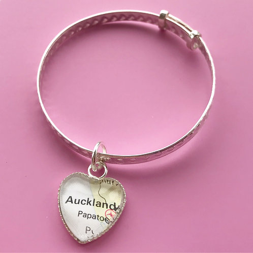 Personalised Travel Map: Sterling Silver Baby Bangle