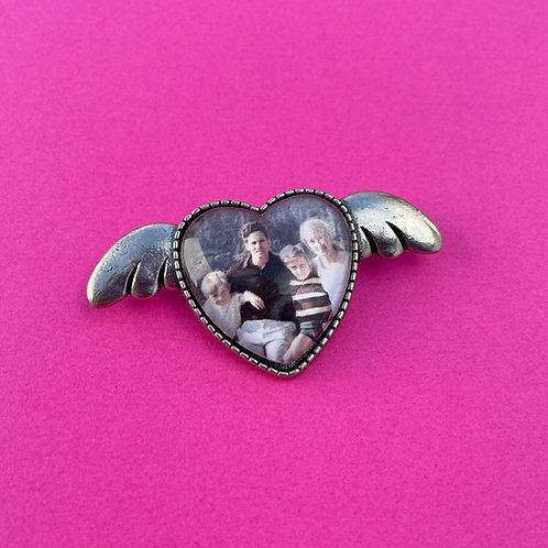 Personalised Memory Charm: Love Heart & Wings Brooch
