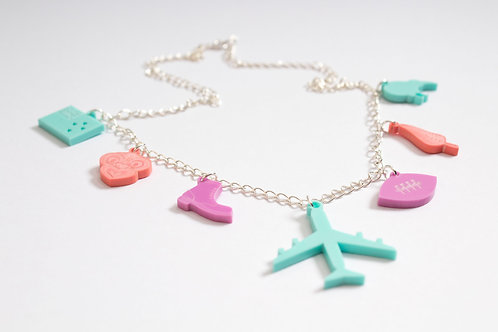 New Zealand: Laser Cut Perspex Travel Charm Necklace