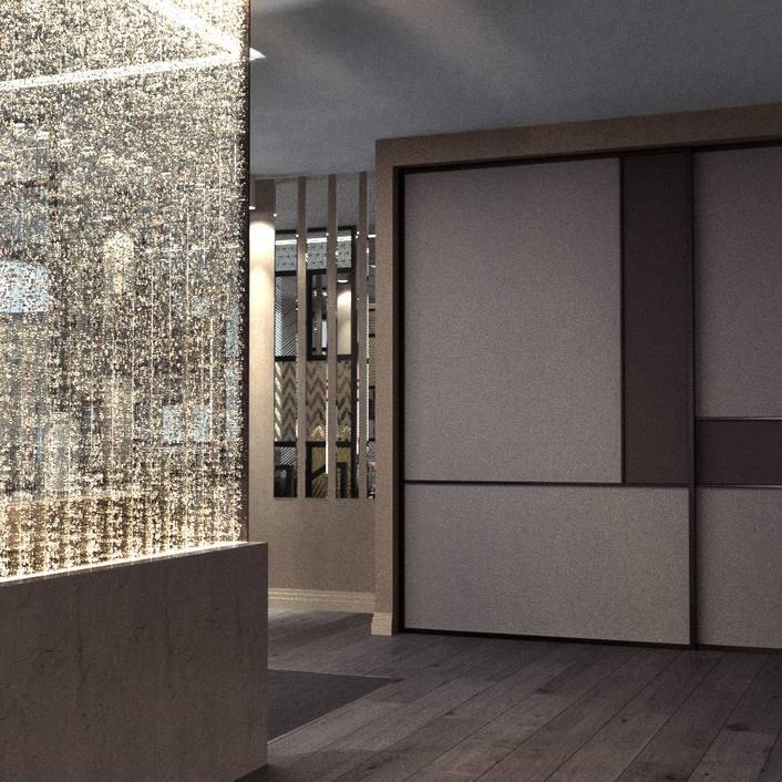 водно-пузырьковая панель в офисе