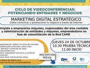 """Ciclo de Videoconferencias FinanCAME: """"Marketing digital estratégico"""""""