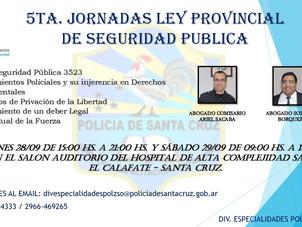 """En Octubre: Invitación a """"Jornada Ley Provincial de Seguridad Publica"""""""