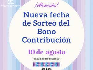 Continúa la venta del Bono Contribución: Sorteo 10 de Agosto