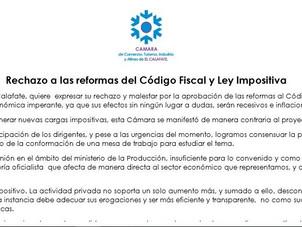 Rechazo a las reformas del Código Fiscal y Ley Impositiva
