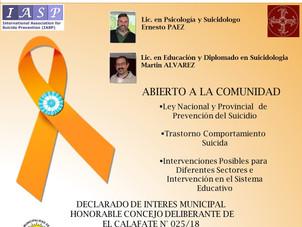 Invitación a Jornadas De Prevención Del Suicidio