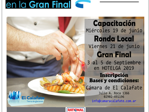 El 21 de junio se realiza la Ronda Local del  Torneo Federal de Chef 2019.