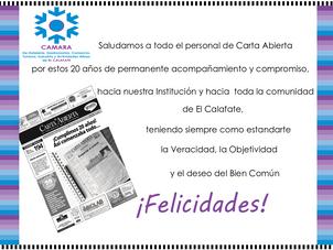 20 años de Carta Abierta - El Periódico de El Calafate - ¡Felicitaciones!