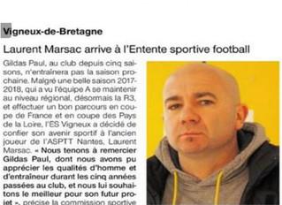 Ouest France : Laurent Marsac à Vigneux