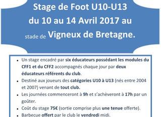 Stage U10-U13 avril 2017
