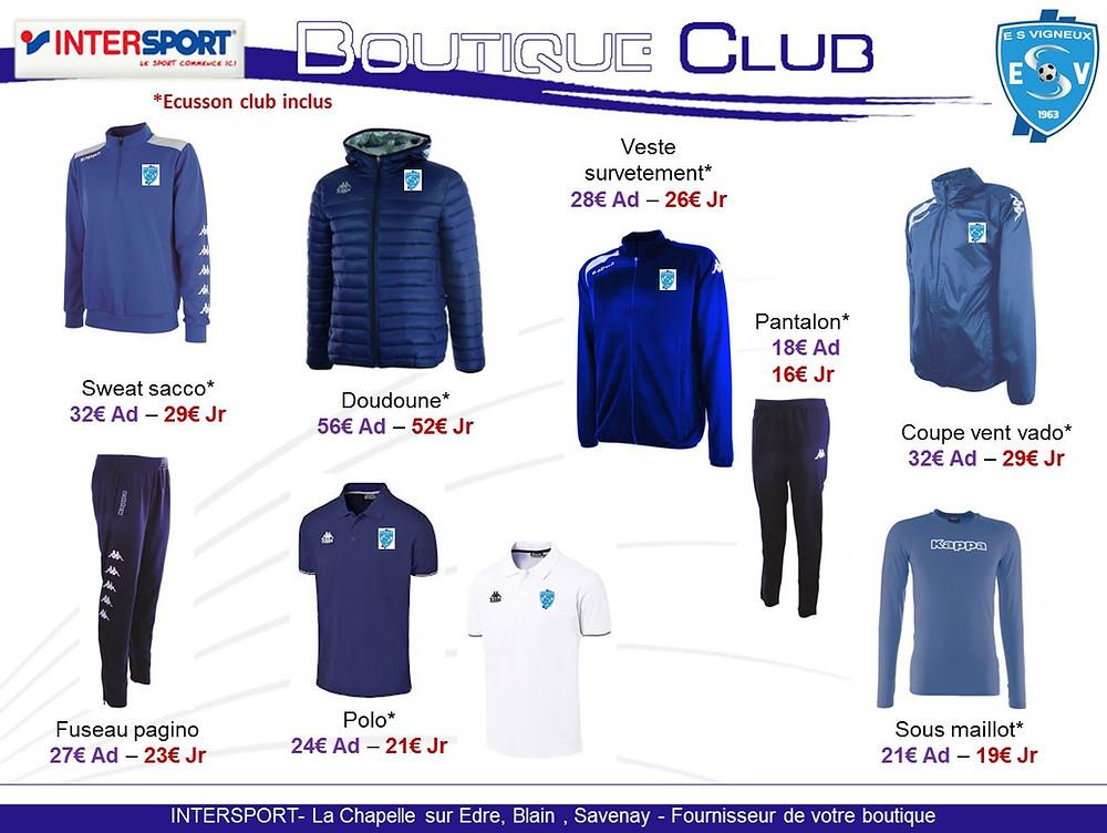 La nouvelle boutique du club vient d'arrivée Kappa et Intersport nouveaux partenaires