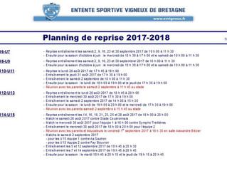 Planning de reprise 2017-2018