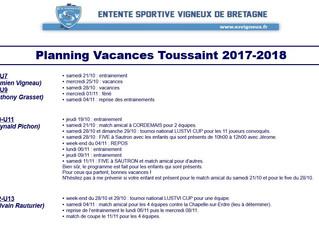 Planning vacances Toussaint