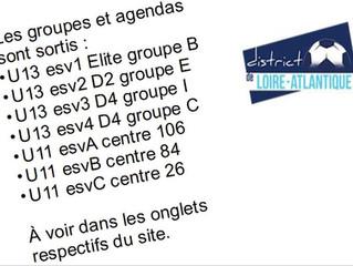 Groupes et calendriers U11 et U13