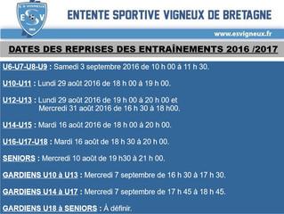 Dates des reprises des entraînements 2016/2017