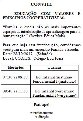 Educação Infantil   Ensino Fundamental I -  Encontro Família/Escola