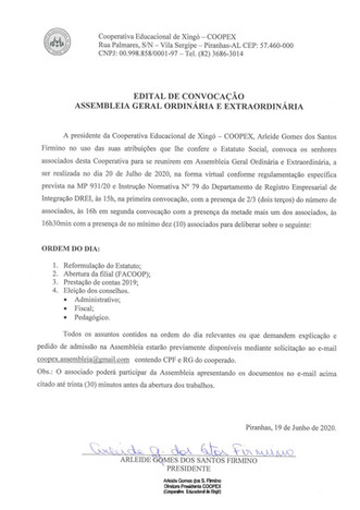Edital da Assembleia Geral Ordinária - AGO 2020 - da Cooperativa Educacional de Xingó - COOPEX