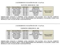 CALENDÁRIO DE AVALIAÇÕES ON-LINE – 6º ao 8º ano - III Bimestre 2020