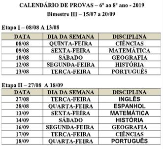 Calendário de Provas III Bimestre - Fundamental Séries Finais e Ensino Médio