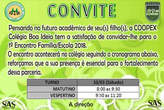 Convite - Primeiro Encontro Família/Escola 2018