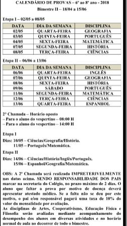 Calendário de Provas - Bimestre II – 18/04 a 15/06 - Ensino Fundamental 2 e Ensino Médio