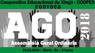 Cooperativa Educacional de Xingó - COOPEX convoca associados para Assembleia Geral Ordinária – AGO 2