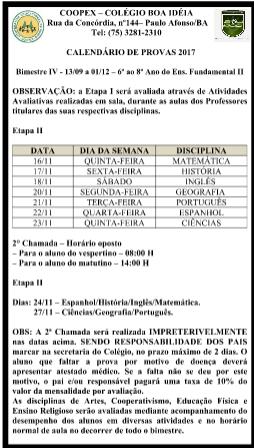 Ensino Fundamental II || Calendário de Provas || 6º ao 8º ano