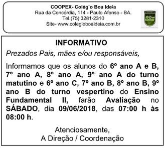Informativo Prova (09/06) - Fundamental 2