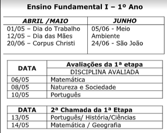 Calendário de Provas 2º Bimestre | Ensino Fundamental e Médio