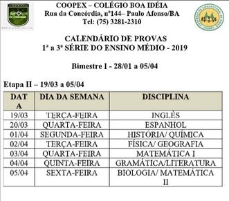 Calendário de provas 2ª Etapa - 1º Bimestre - Ensino Médio