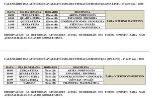 CALENDÁRIO DAS AVALIAÇÕES DE RECUPERAÇÃO BIMESTRAL DO BIMESTRE II -  6º AO 8º ANO - QUARENTENA