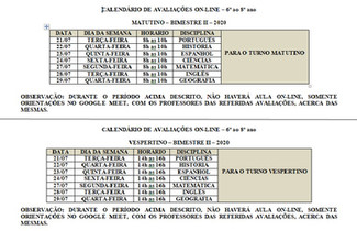 CALENDÁRIO DE AVALIAÇÕES ON-LINE – 6º ao 8º ano  MATUTINO – BIMESTRE II – 2020