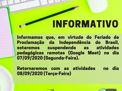 Informativo Feriado Independência do Brasil