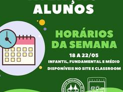 HORÁRIO DAS AULAS (CLASSROOM) E MONITORIAS ONLINE (MEET)