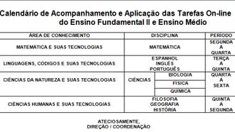 Calendário das tarefas on line 2018 - Ensino Fundamental II e Ensino Médio