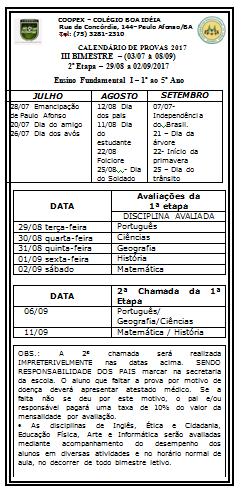 ENSINO FUNDAMENTAL I - CALENDÁRIO 2 ETAPA DO III BIMESTRE