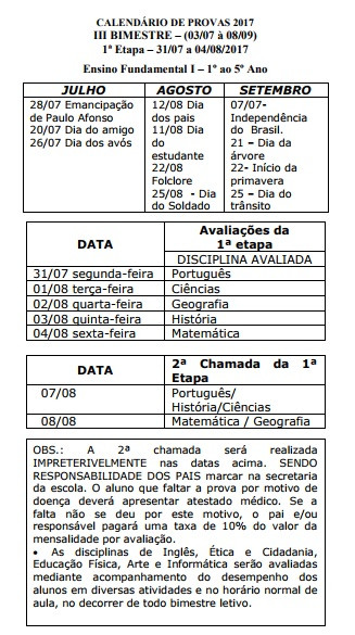 Ensino Fundamental I - Calendário de provas 2017 III Bimestre