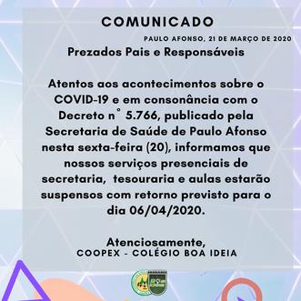 Comunicado Coronavírus - Novo prazo para retorno das aulas presenciais.