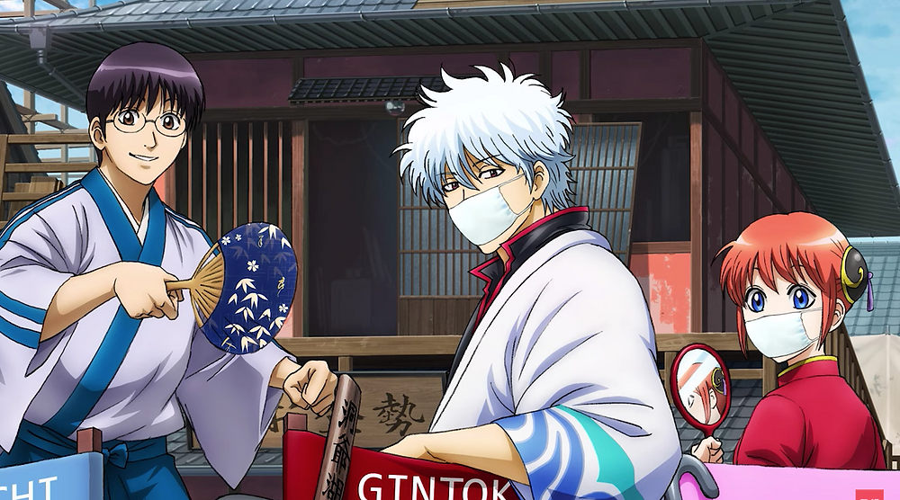 Gintoki and Kagura wearing mask because of Corona virus pandemic, while Shinpachi without mask in the alternate key visual introduced in Gintama the final movie teaser.