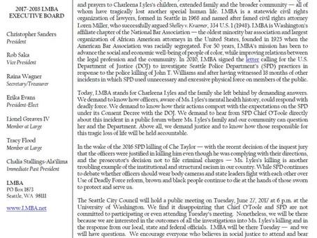 Press Release - Death of Charleena Lyles