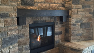 Cozy stone fireplace seating